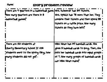 Multiple Step Story Problems