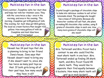 Multiple Step Word Problem Task Cards - Summer Themed {3.OA.D.8} {4.OA.A.3}