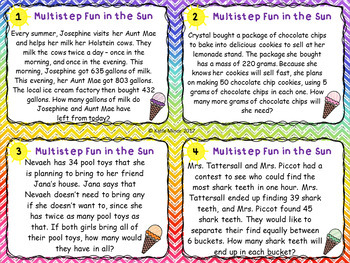 Multiple Step Word Problem Task Cards - Summer Themed {3.OA.D.8} {4.OA.A.3}