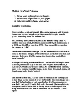 Multiple Step Word Problems Center