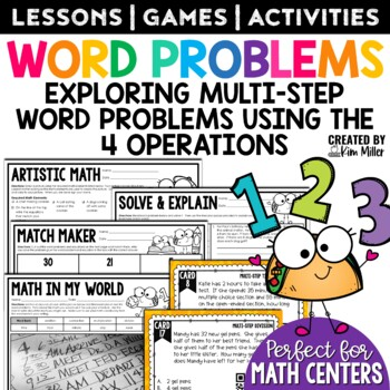 Multiple Step Word Problems | Math Test Prep | Task Cards
