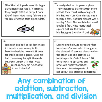 Multiple Step Word Problems for the Spring - 3.OA.8