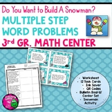 Multiple Step Word Problems Task Card Math Center & Snowman Activity 3rd Grade