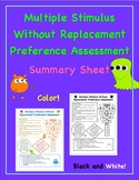 Multiple Stimulus Without Replacement Summary Sheet {Preference Assessment}