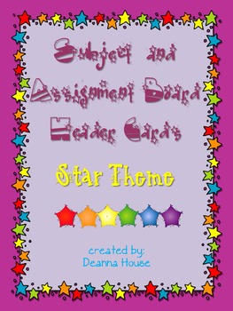 Multiple Subject Header Cards Large Stars Theme