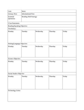 Multiple Subject Lesson Plan Template