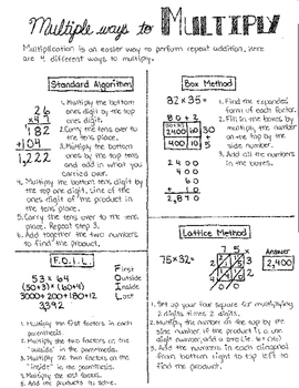 Multiple Ways to Multiply Anchor Chart/Student Notes