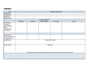 Multiple Weekly Lesson Plan Template