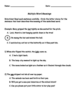Multiple Word Meanings Assessment