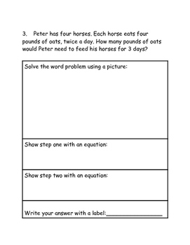 Multiple Step Word Problem Graphic Organizer