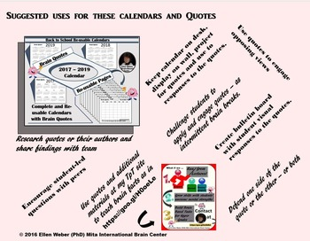 Multiple Year Calendars with Brain Quote Prompts