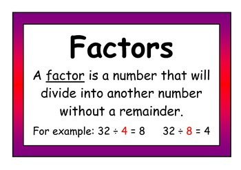 Multiple and Factor Definition Posters