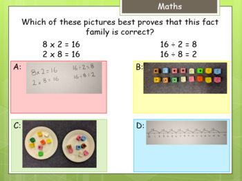 Multiple choice answer card with example (Y3 maths) hinge point questions