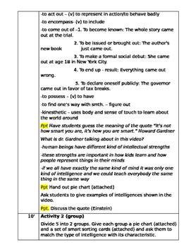 Multiple intelligences lesson plan