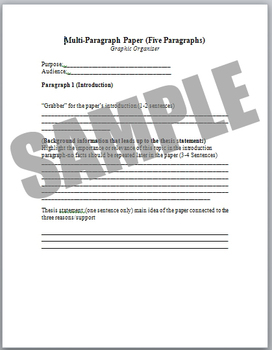 Multiple paragraph graphic organizer/Research/Informational or Persuasive