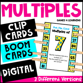 Multiples Activity with Clothespins: Multiples Clip Cards