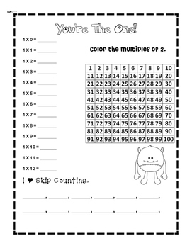 Multiples Coloring 1-12 Early Time Tables/Multiplication