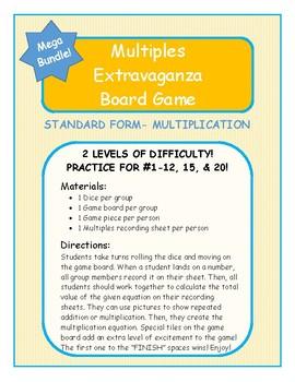 Multiples Extravaganza Game- Numbers 1-12, 15, & 20- STANDARD Form & Multip.