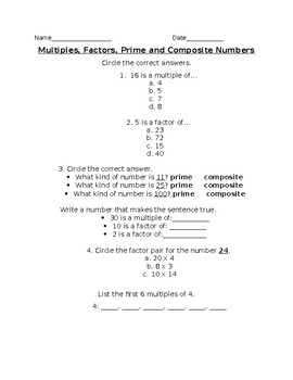 Multiples, Factors, Prime and Composite Numbers, Differentiated Special Ed