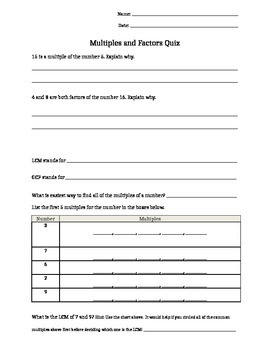 Multiples & Factors Quiz