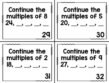 Multiples & Factors Task Cards