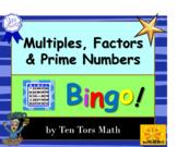 Multiples, Factors and Prime Numbers Bingo Activity