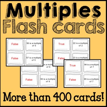 Math Multiples:  Flash Cards, Poster, and Worksheets Common Core 4th Grade