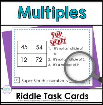Multiples Fourth Grade Math Riddle Task Cards