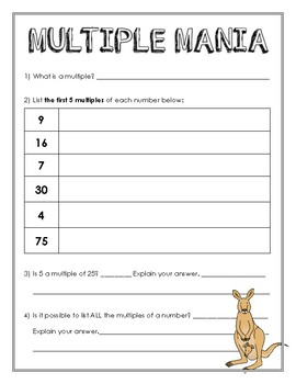 Multiples - Notes & Practice