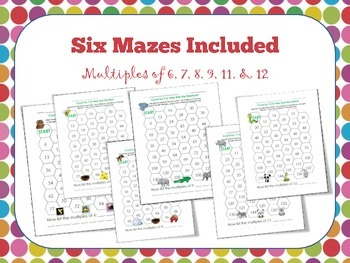 Multiples Practice Maze Activity to count by 6, 7, 8, 9, 11, & 12