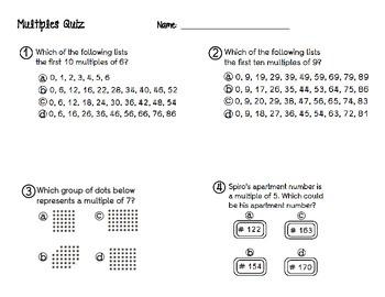 Multiples Quiz