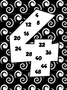 Multiples Skip Counting Posters Black and White
