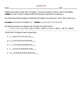 Multiples Warm-Up Remediation