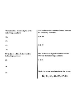 Multiples and Factors Assessment Test