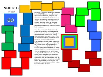 Multiples and Factors Board Game