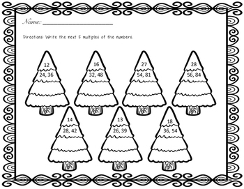 Multiples and Factors Christmas Center and Worksheets