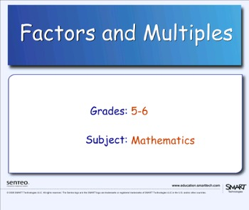 Multiples and Factors Interactive Smartboard Activity