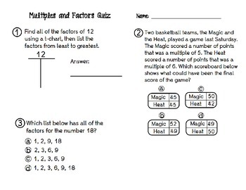 Multiples and Factors Quiz
