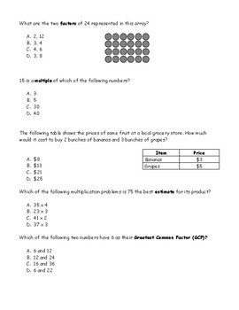 Multiples and Factors Study Guide