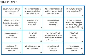 Multiples and Factors True or False Cards