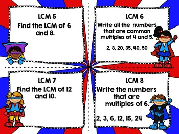 Multiples and LCM Task Cards-Differentiated