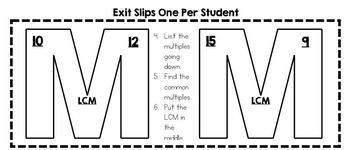 Multiples and Least Common Multiple Interactive Notebook and Exit Slip