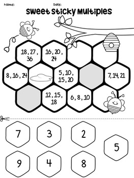 Multiples and Prime numbers (cut and paste worksheets)
