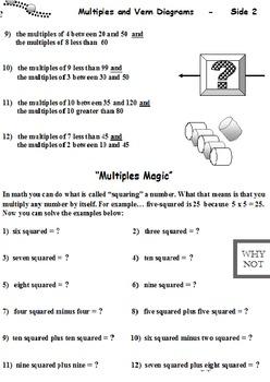 Multiples and Venn Diagrams