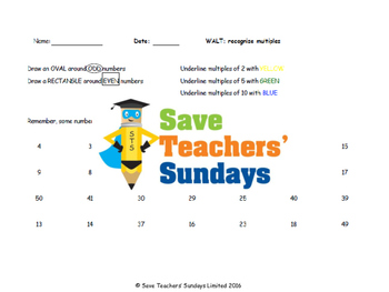 Multiples lesson plans, worksheets and rules for finding m