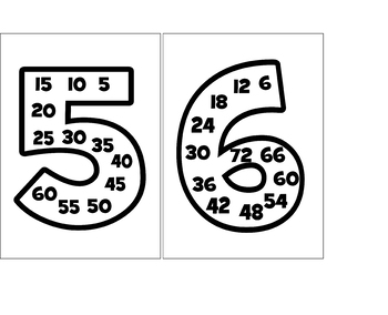 Multiples of 1-12  use for Multiplication Learning