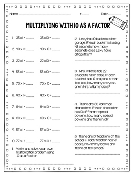 Multiples of 10 & 10 as a Factor Practice