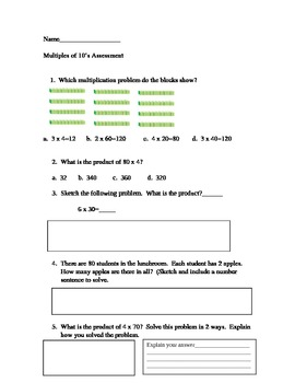 Multiples of 10 Assessment Common Core