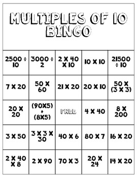 Multiples of 10 Bingo & Distributive Property