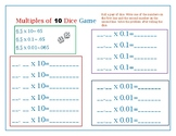 Multiples of 10 Decimal Dice Game